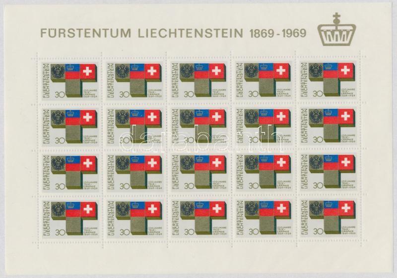 100 éves a liechtensteini telegráfia kisív, Centenary of Liechtenstein Telegrafia minisheet