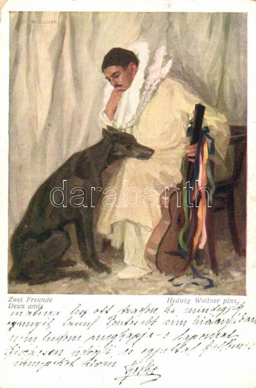 Zwei freunde / two friends, dog, Wiener Kunst, B.K.W.I. Nr. 1658. s: Hedwig Wollner, Két barát, kutya, gitár, Wiener Kunst, B.K.W.I. Nr. 1658. s: Hedwig Wollner