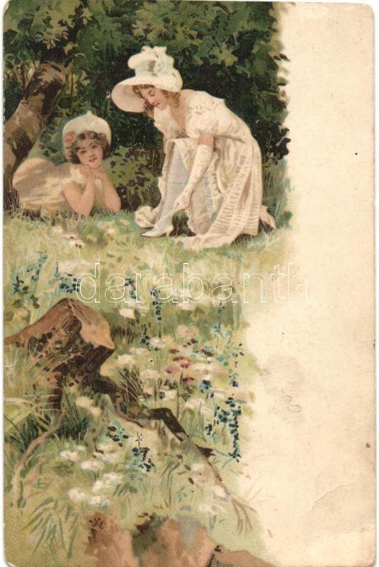 Hölgyek a szabadban, litho, Ladies in the nature, litho