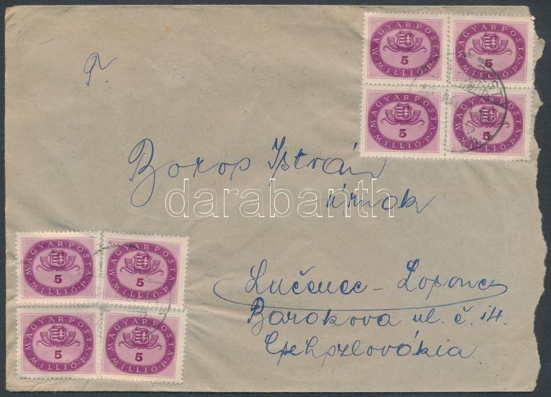 (16. díjszabás) Levél Csehszlovákiába Milliós 8x 5mP bérmentesítéssel / Cover to Czechoslovakia, Inflation cover
