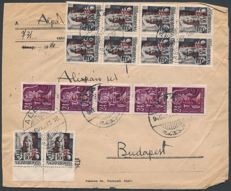 Inflation cover, (17. díjszabás) Távolsági levél Betűs III 30x Távolsági levél/18f + 15x Ajánlás/24f bérmentesítéssel / domestic cover franked with 45 stamps