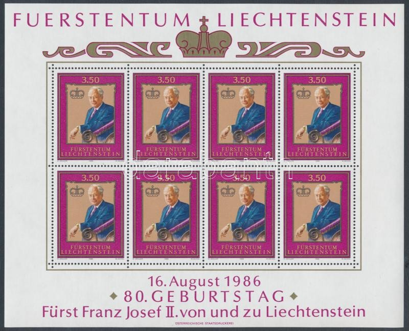 80th birth anniversary of Franz Joseph II. mini sheet, 80 éve született II. Ferenc József kisív