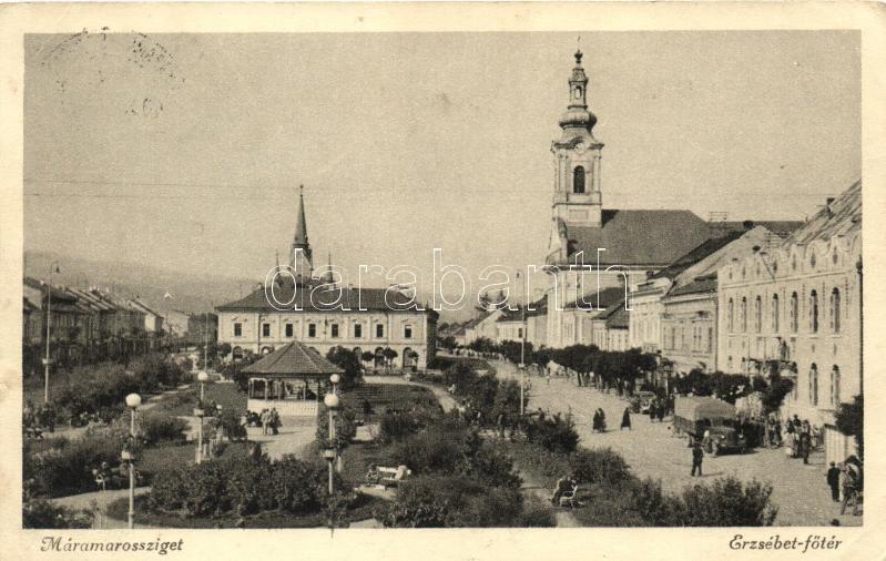 Sighetu Marmatiei, main square, church, park, Máramarossziget, Erzsébet Főtér, Márton Jenő felvétele