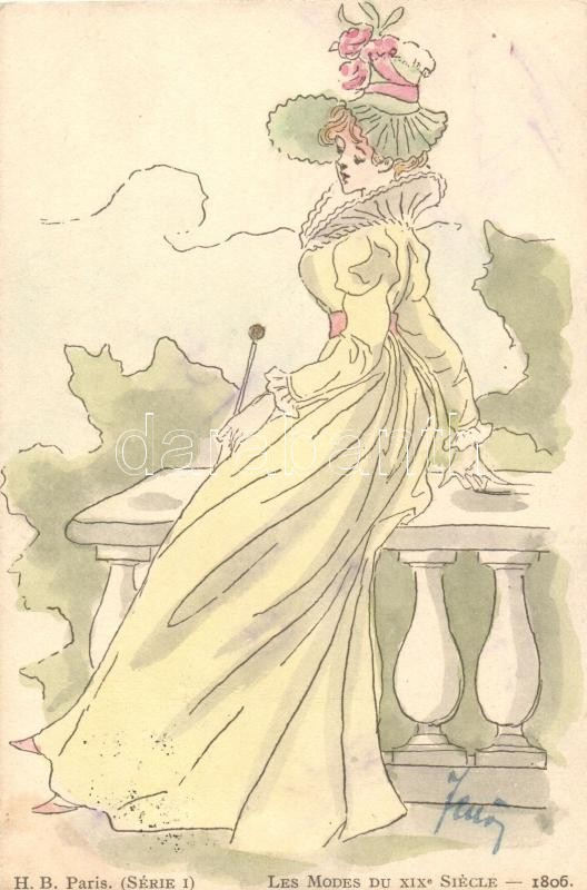 Les Modes Du XIX Siécle - 1806. / Fashions of XIX century, H.B. Paris, Série I, XIX. századi divat, H.B. Paris, Série I