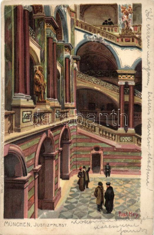 München, Justizpalast 'Künstlerpostkarte No. 2133. von Ottmar Zieher' litho s: Paul Hey