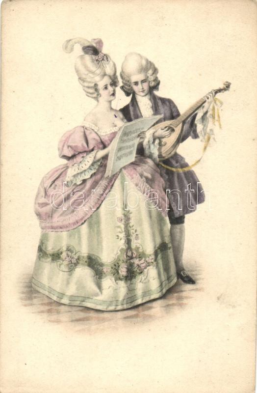 Barokk pár, lant, M.Munk Vienne Nr. 748., Baroque couple, lute, M.Munk Vienne Nr. 748.