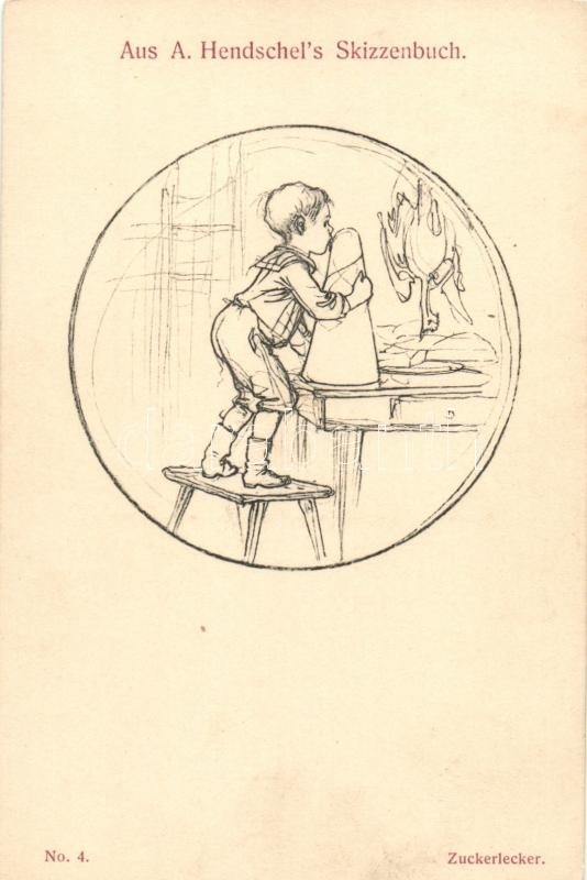 Aus A. Hendschel's Skizzenbuch No. 41. 'Zuckerlecker' / sugar loaf, Cukorsüveg, kisfiú, Aus A. Hendschel's Skizzenbuch No. 41.