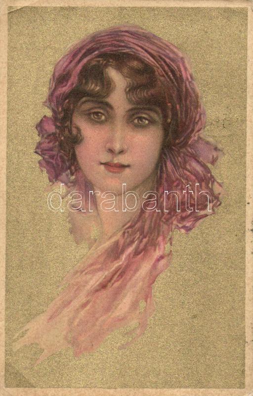 Gold Italian art postcard, Anna & Gasparini 123-2, unsigned Corbella, Aranyozott olasz művészeti képeslap, Anna & Gasparini 123-2,  Corbella aláírással