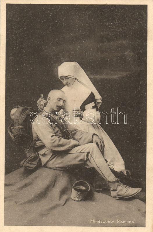 I. világháborús sérült magyar katona a Vöröskereszt nővérével, WWI Hungarian military, injured soldier with Red Cross nurse