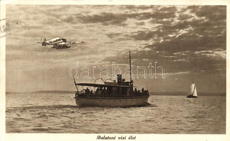 Balaton, vizi élet, gőzhajó, aeroplane