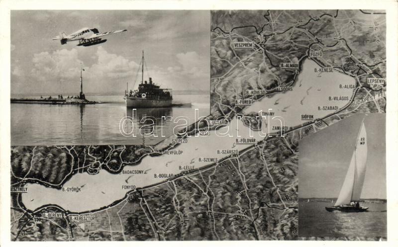 Balaton, gőzhajó, térkép, JAD aeroplane