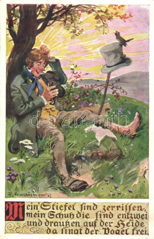 German folk song illustration s: F. Gareis (wet damage), Német népdalillusztráció s: F. Gareis (ázott), Ein Heller und ein Batzen s: F. Gareis (wet damage)