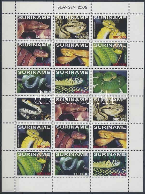 Snakes full sheet, Kígyók az egész világból teljes ív