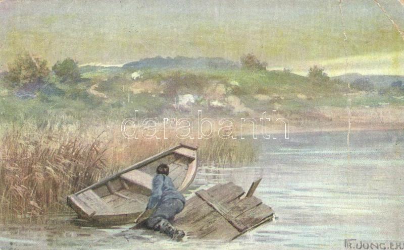 WWI K.u.K. military card, boat s: Fr. Jung, I. világháborús osztrák-magyar katona, hajó s: Fr. Jung