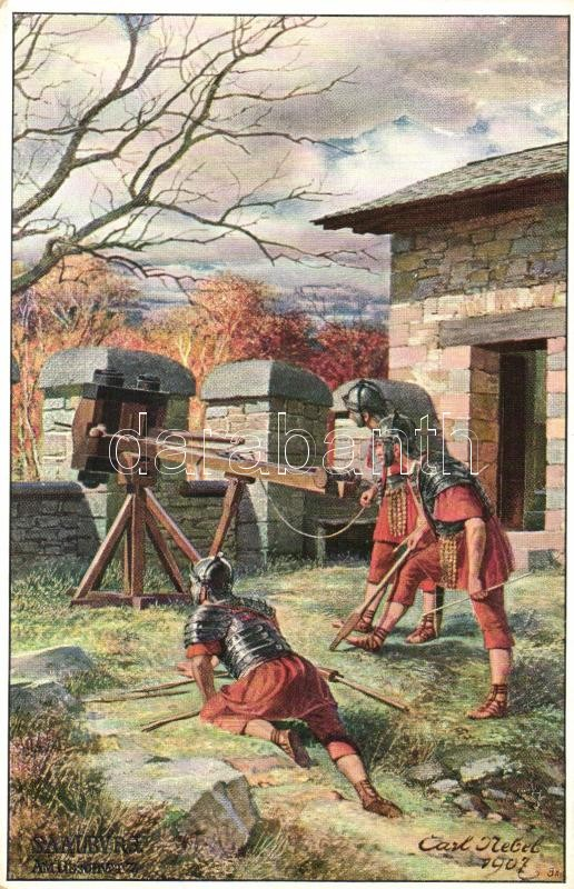 Roman soldiers at Saalburg fort, battle s: Carl Nebel, Római katonák a saalburgi erődnél s: Carl Nebel