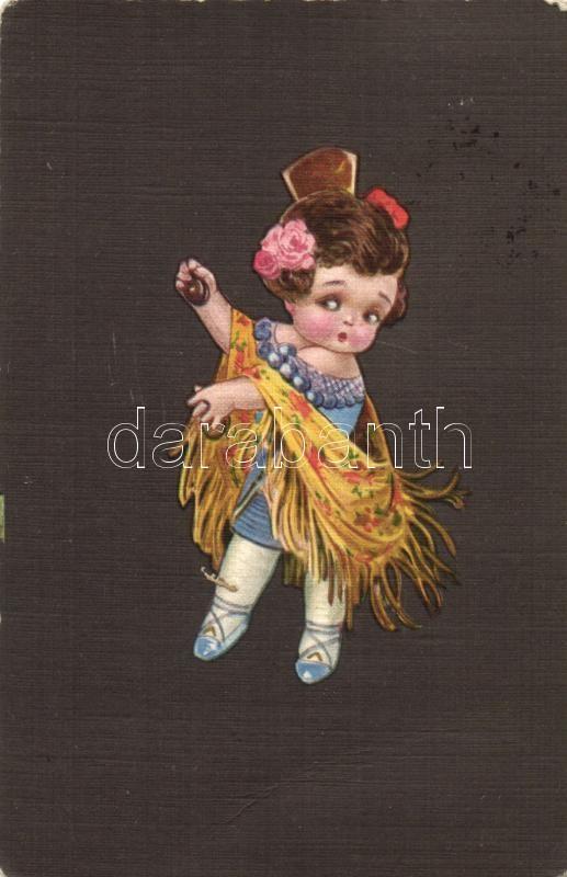 Spanish folklore, Italian art postcard, Ultra CMD 2034 Colombo, Spanyol folklór, olasz művészlap, Ultra CMD 2034 Colombo