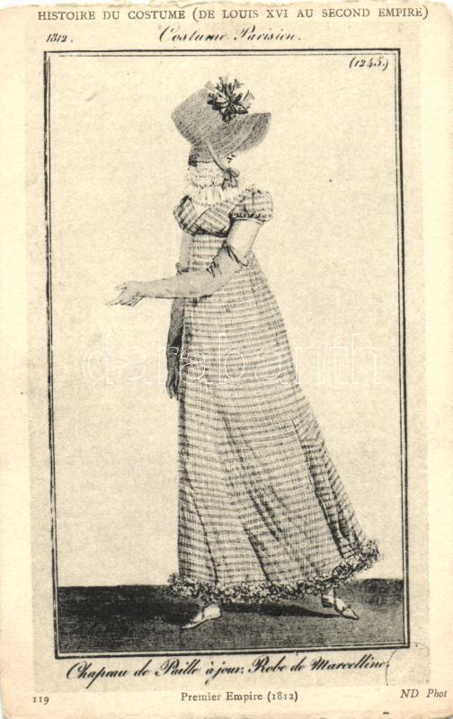 Histoire du Costume, Robe de Marcelline / French costume from Louis XVI of France era, Hölgy XVI. Lajos korabeli ruhában