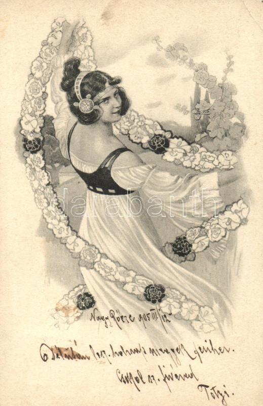 Lady with flowers, Hölgy virágfüzérrel