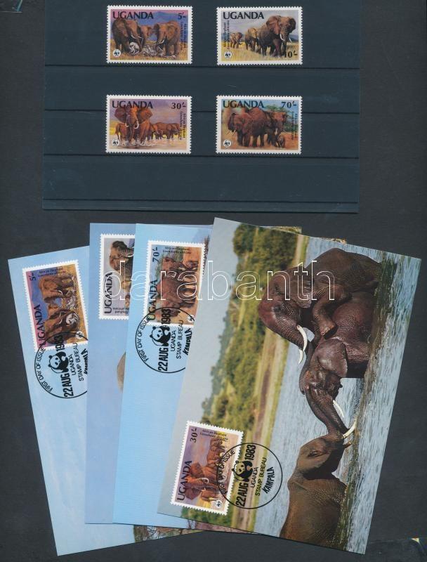 WWF: Afrikai elefánt sor + 4 db FDC + 4 db CM, WWF African elephant set + 4 FDC + 4 CM