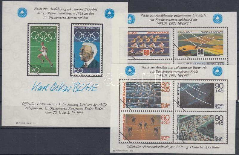 3 Sport memorial sheet with unrealized stamp pictures, 3 db Sport emlékív megvalósulatlan bélyegek képeivel