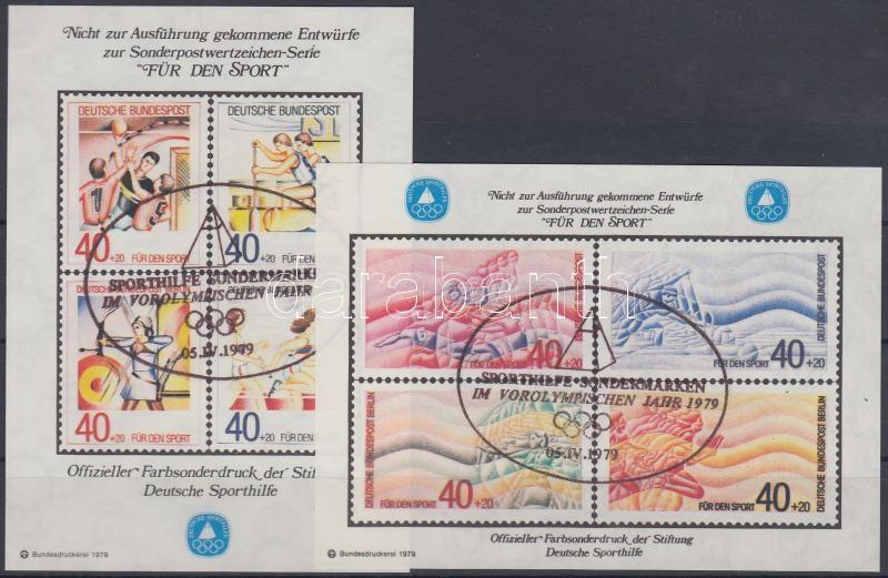 2 Sport memorial sheets with unrealized stamp pictures, 2 db Sport emlékív megvalósulatlan bélyegek képeivel