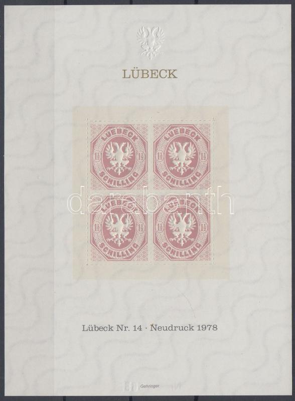 Lübeck memorial sheet new print, Lübeck emlékív új nyomat