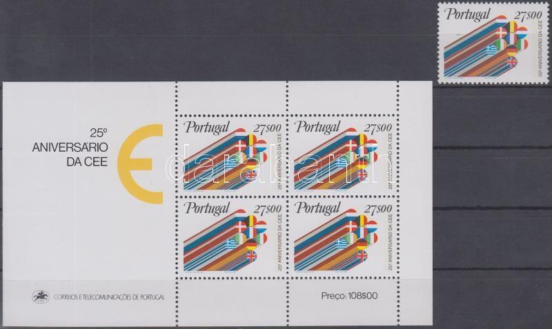 25th anniversary of European Economic Community stamp + block, 25 éves az Európai Gazdasági Közösség bélyeg + blokk