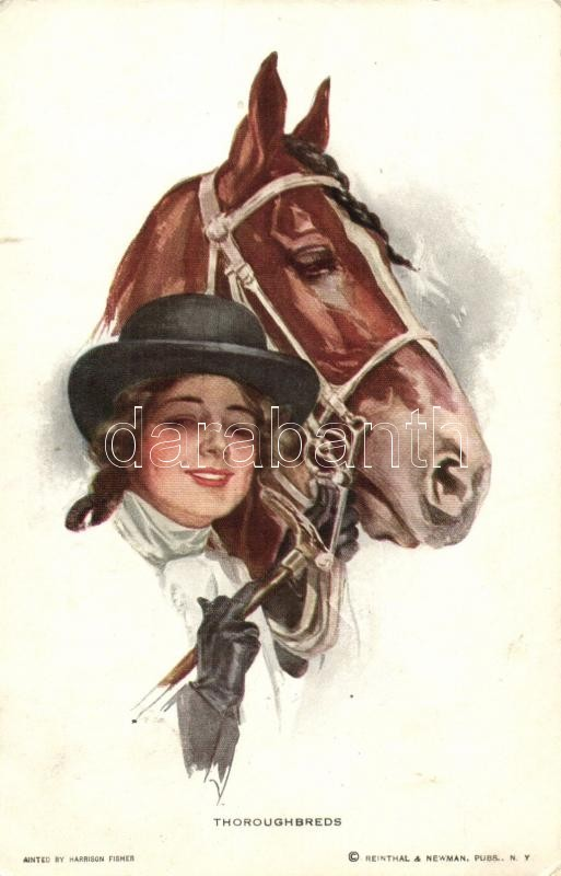 Thoroughbreds / Lady with horse, Reinthal & Newman s: Harrison Fisher, Hölgy lóval, Reinthal & Newman s: Harrison Fisher