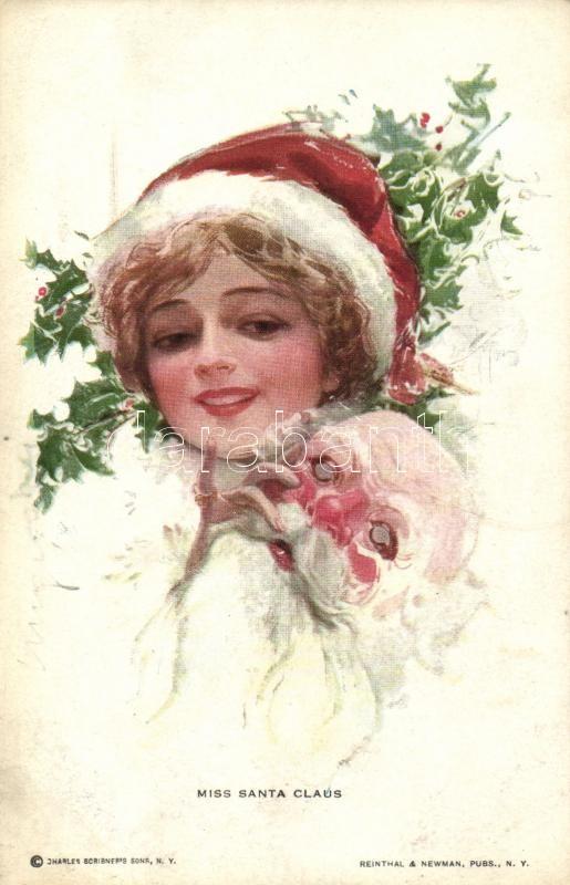 Miss Santa Claus / Lady with mask, Reinthal & Newman No. 182., Hölgy mikulás maszkkal, Reinthal & Newman No. 182.