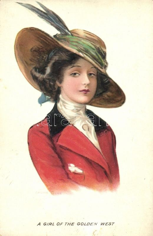 A girl of the golden west, lady with hat litho s: Archie Gunn, Kalapos hölgy litho s: Archie Gunn