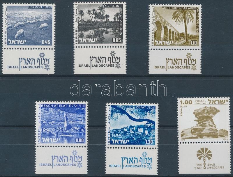 6 diff. definitive stamps with tab, 6 klf Tabos forgalmi bélyeg