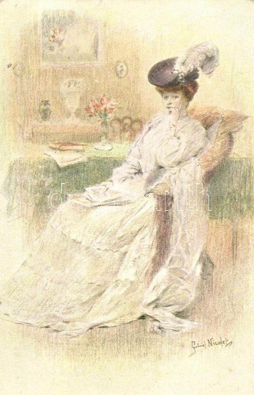 Sitting lady, Raphael Tuck & Sons Oilette Serie No. 1207. s: Gabriel Nicolet, Hölgy, Raphael Tuck & Sons Oilette Serie No. 1207. s: Gabriel Nicolet