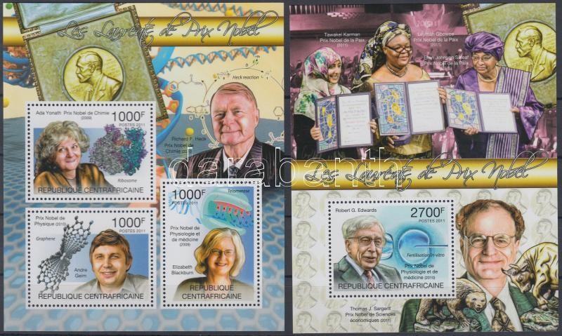 Nobel Prize Laureates mini sheet + block, Nobel-díjasok kisív + blokk
