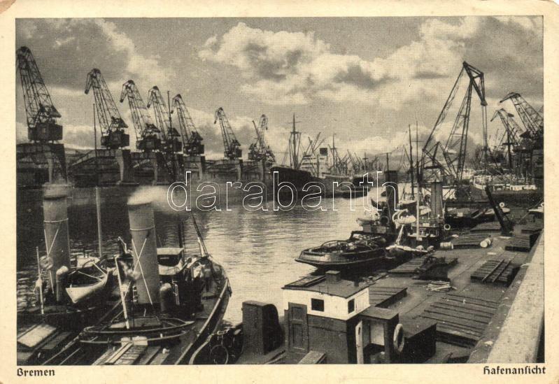 Bremen, Hafen / port, steamship (