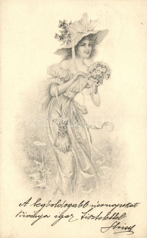 Lady with flowers, Hölgy virágcsokorral