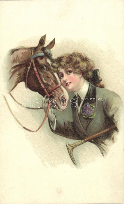 Hölgy lóval litho, Lady with horse litho