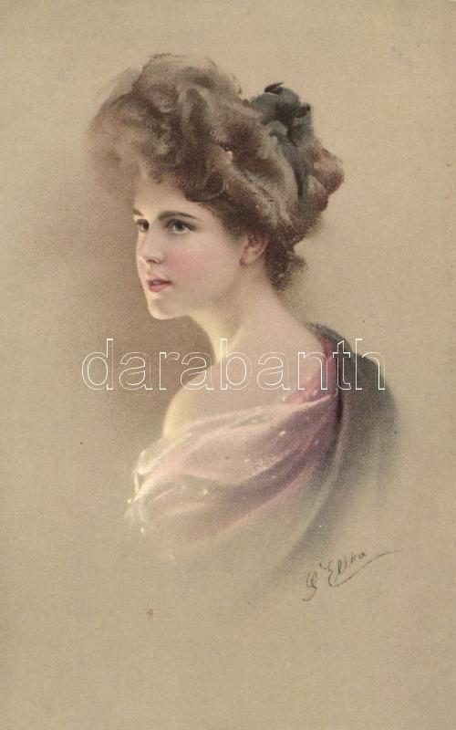 Lady, M. Munk Nr. 443. litho s: Ellka, Hölgy, M. Munk Nr. 443. litho s: Ellka