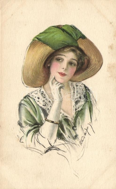Lady with hat, Paul Heckscher Serie 1025/3. s: Ford Harper, Kalapos hölgy, Paul Heckscher Serie 1025/3. s: Ford Harper