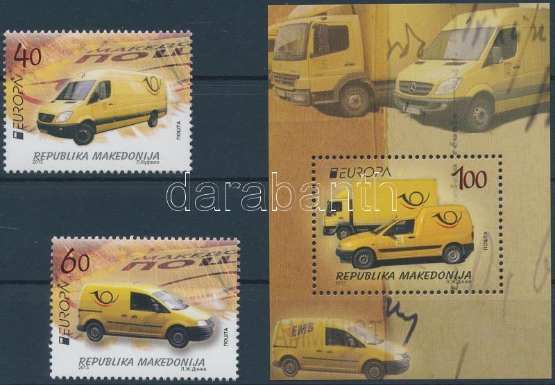 Europa CEPT Postal vehicles set + block, Europa CEPT Postai járművek sor + blokk
