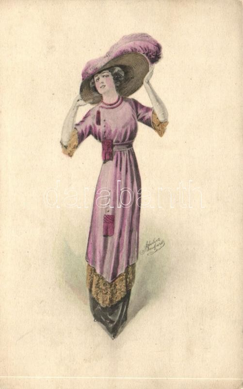 Lady with hat, Chic Parisien advertisement on the backside s: Atelier Bachwitz, Kalapos hölgy, Chic Parisien reklám a hátoldalon s: Atelier Bachwitz
