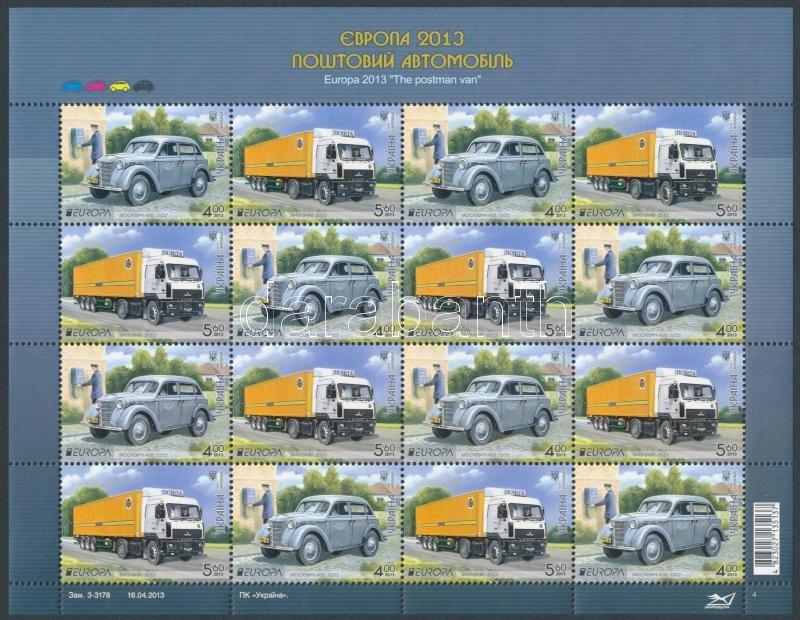 Europa CEPT Postal vehicles mini sheet, Europa CEPT Postai járművek kisív