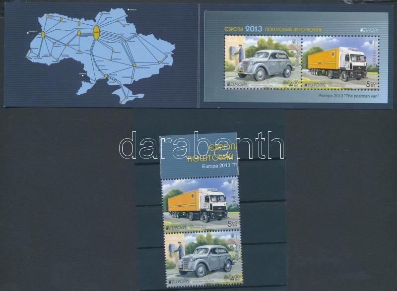 Europa CEPT Postai járművek pár + bélyegfüzet, Europa CEPT Postal Vehicles pair + stamp-booklet