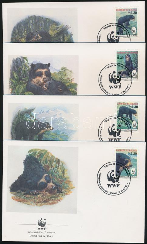 WWF Spectacled Bear set 4 FDC, WWF Pápaszemes medve sor 4 FDC