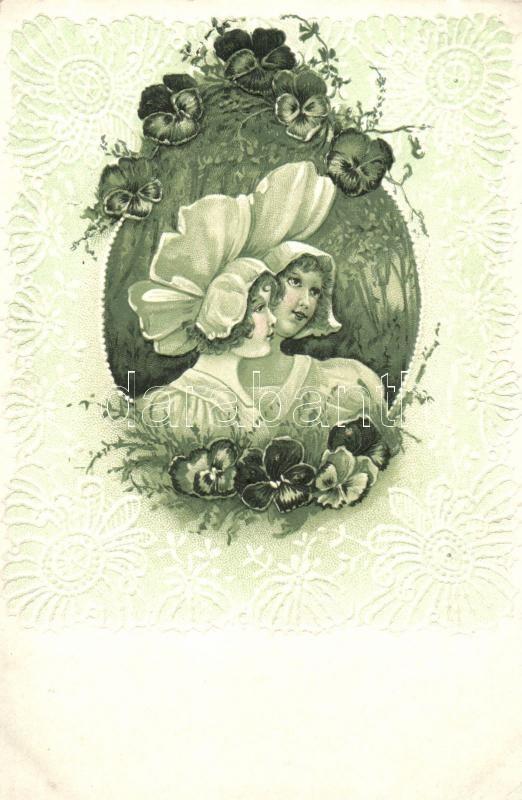 Ladies in the woods, flowers, Art Nouveau Emb. litho So. Stpl, Hölgyek az erdőben, virágok, Art Nouveau dombornyomott, litho