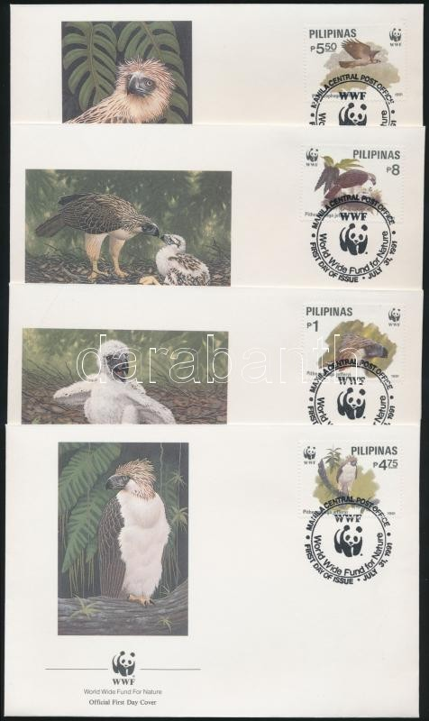 Majomevő sas sor 4 FDC, Monkey Eating Eagle set 4 FDC