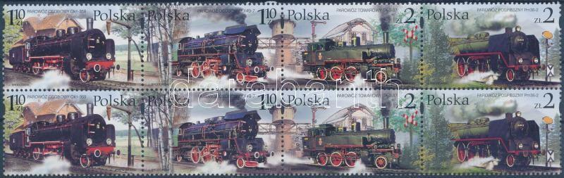 Old steam locomotives from Wolsztyn Railway Museum block of 8, Régi gőzmozdonyok a Wolsztyn Vasútmúzeumból nyolcastömb