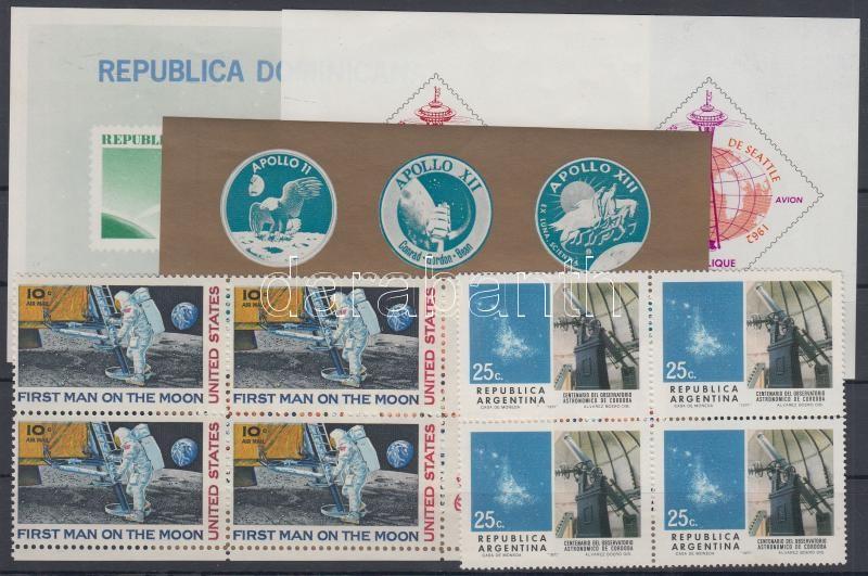 Space research 2 blocks of 4, with corner + 3 blocks, Űrkutatás motívum 2 db 4-es tömb, köztük ívsarkiak + 3 db blokk