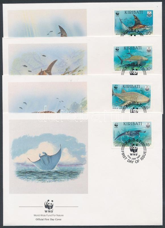 WWF Sea life set 4 FDC, WWF tengeri élővilág sor 4 FDC