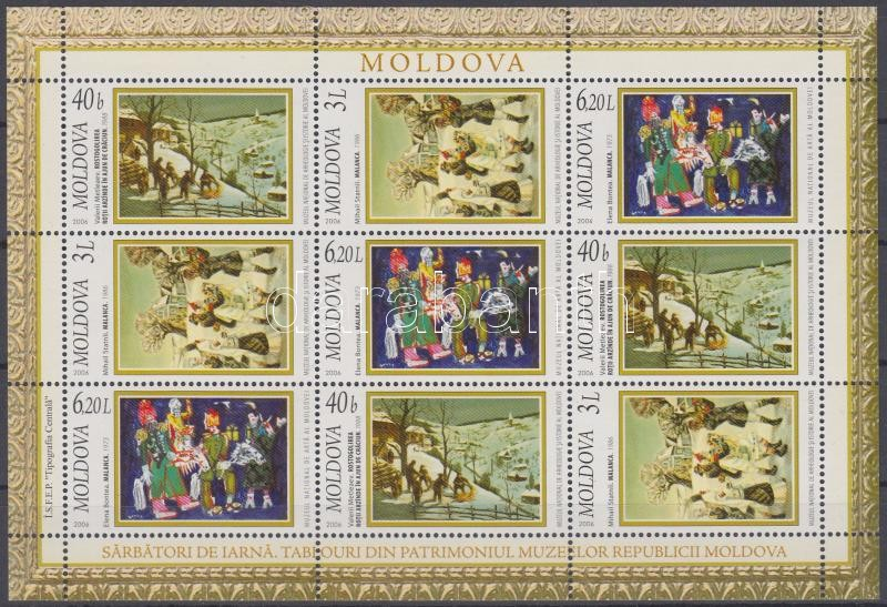 Winter-themed paintings from museums in Moldova mini sheet, Tél témájú festmények a moldovai múzeumokból kisív