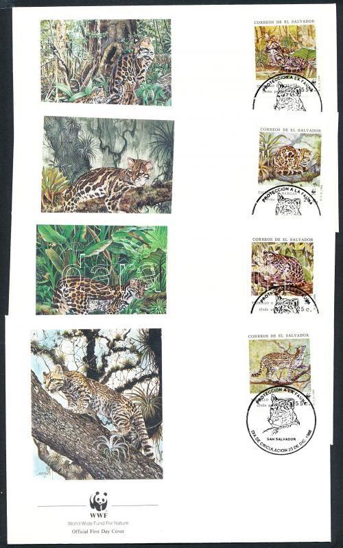 WWF cat breed set on 4 FDC, WWF kisméretű macskafajták sor 4 FDC